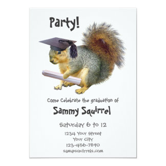 Squirrel Graduation Party Invitation