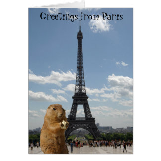 Squirrel Greetings from Eiffel Tower Card