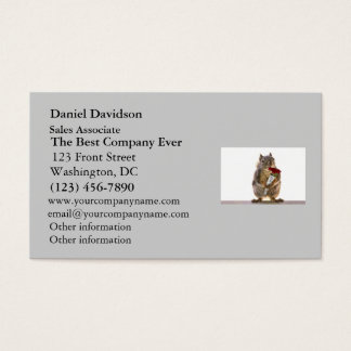 Squirrel Holding Red Rose Bouquet Business Card