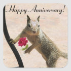 Squirrel Holding Rose Anniversary Square Sticker