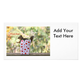 "Squirrel ""I Love You"" Valentine Photo Card Template"
