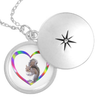 Squirrel in Colorful Heart Locket Necklace