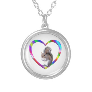 Squirrel in Colorful Heart Silver Plated Necklace