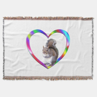 Squirrel in Colorful Heart Throw Blanket