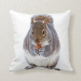 squirrel in snow enjlying sweet and peace throw pillow