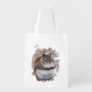 Squirrel in Snow Grocery Bag