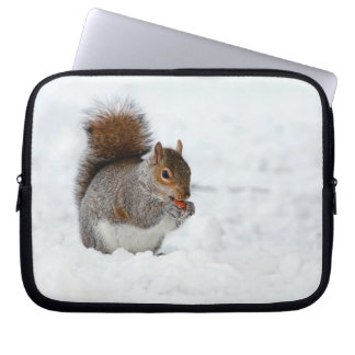 Squirrel in Snow with Berry Laptop Sleeve