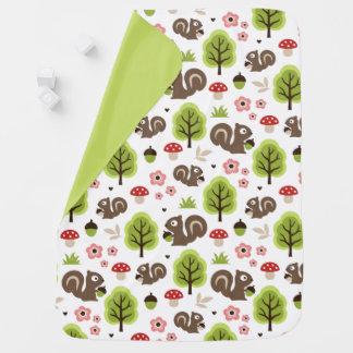 Squirrel in The Oak Forest Pattern Baby Blanket