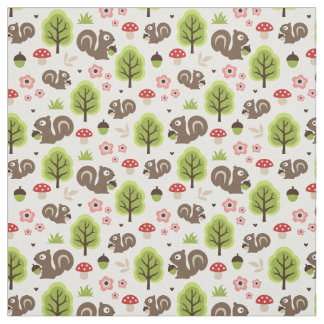 Squirrel in The Oak Forest Pattern Fabric