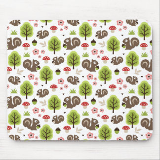 Squirrel in The Oak Forest Pattern Mouse Pad