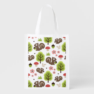 Squirrel in The Oak Forest Pattern Reusable Grocery Bag