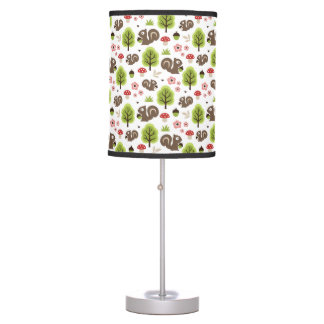 Squirrel in The Oak Forest Pattern Table Lamp