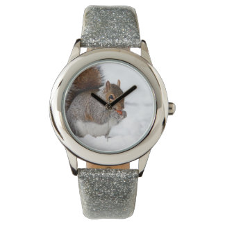 Squirrel in the snow wristwatch