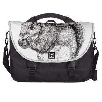 Squirrel Ink Illustration on Laptop Bag