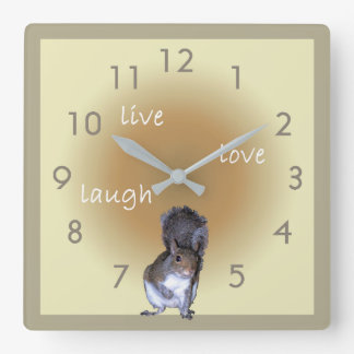 Squirrel - live - love - laugh square wall clock