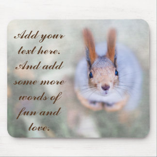 Squirrel looks at you from the bottom up mouse pad