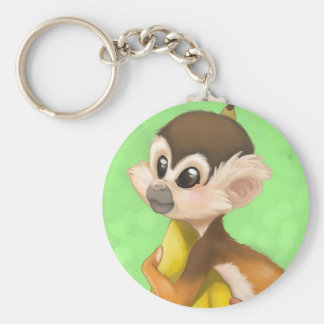 Squirrel Monkey with Banana Keychain