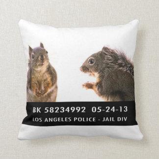Squirrel Mug Shot Throw Pillow
