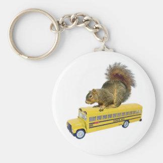 Squirrel on School Bus Basic Round Button Keychain