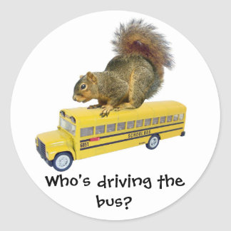 Squirrel on School Bus Round Sticker