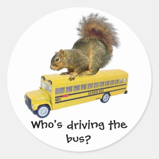 Squirrel on School Bus Round Sticker