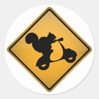 Squirrel on Scooter Round Sticker
