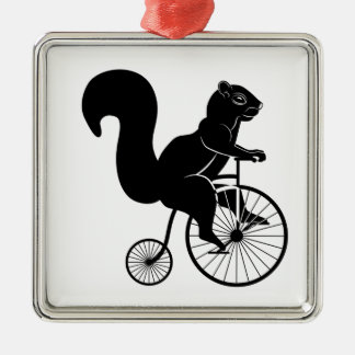 Squirrel or Chipmunk riding on a Bike Metal Ornament