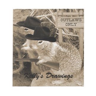 Squirrel Outlaws In The Old West Notepad