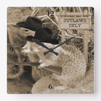 Squirrel Outlaws In The Old West Square Wall Clock