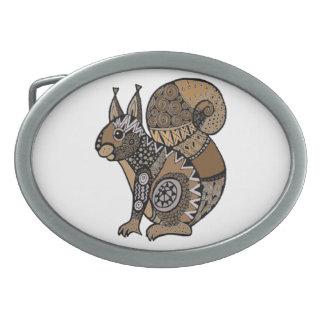 Squirrel Oval Belt Buckle