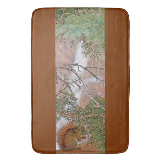 Squirrel, Pine Tree and a Nut Wildlife Bath Mat