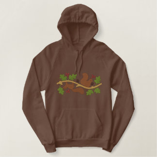 Squirrel Play Embroidered Hooded Sweatshirts