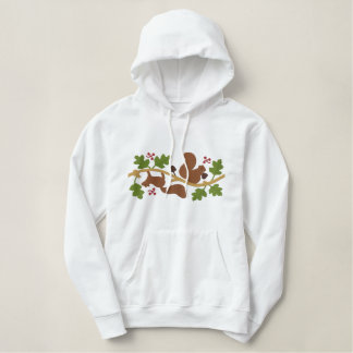 Squirrel Play Embroidered Hoodie