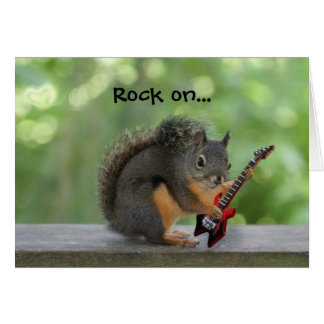 Squirrel Playing Electric Guitar Card