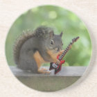 Squirrel Playing Electric Guitar Coaster