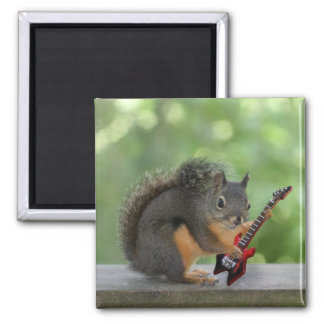 Squirrel Playing Electric Guitar Square Magnet