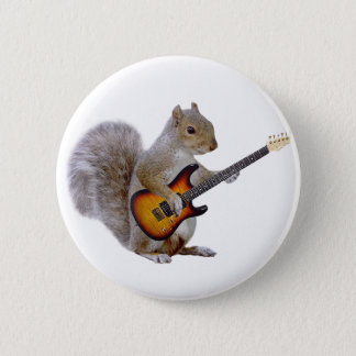 Squirrel Playing Guitar 2 Inch Round Button