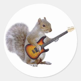 Squirrel Playing Guitar Round Sticker