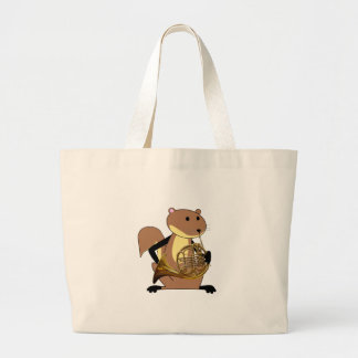 Squirrel Playing the French Horn Large Tote Bag