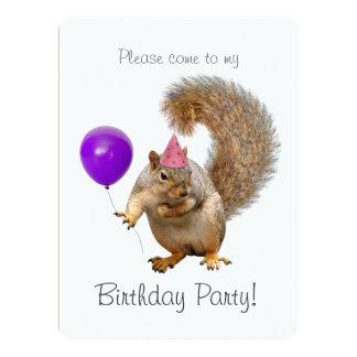 Squirrel Purple Balloon Birthday Party Invitation