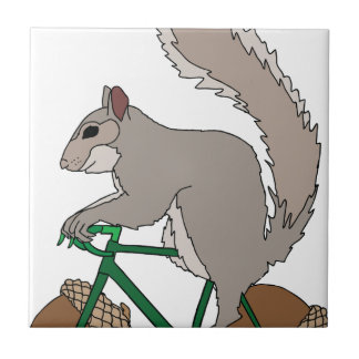 Squirrel Riding Bike With Acorn Wheels Tile