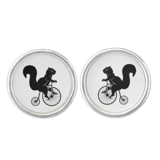 Squirrel Riding Vintage Bike Cuff Links