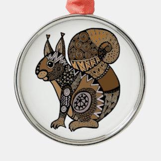Squirrel Silver-Colored Round Ornament