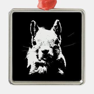 Squirrel Silver-Colored Square Ornament