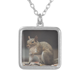 squirrel silver plated necklace