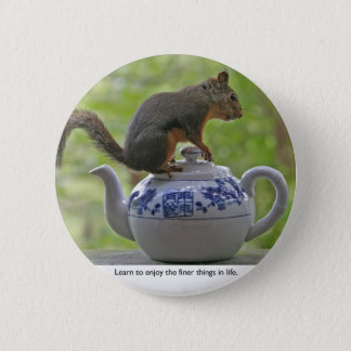 Squirrel Sitting on a Teapot 2 Inch Round Button