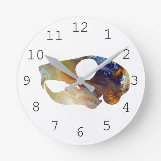 Squirrel Skull Art Round Clock
