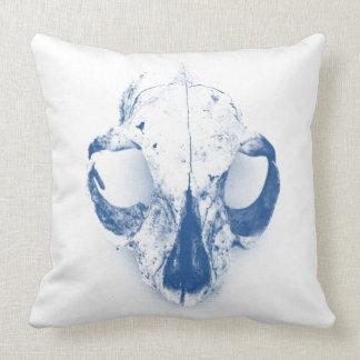 "SQUIRREL SKULL pillow cotton 20"" blue w/ quote"