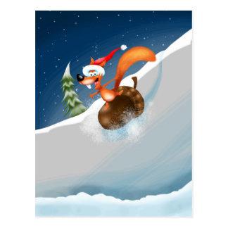 Squirrel Snowboarding Postcard