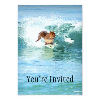 """Squirrel Surfer On The Sea 5"""" X 7"""" Invitation Card"""